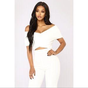 Fashion Nova White Off the Shoulder Top
